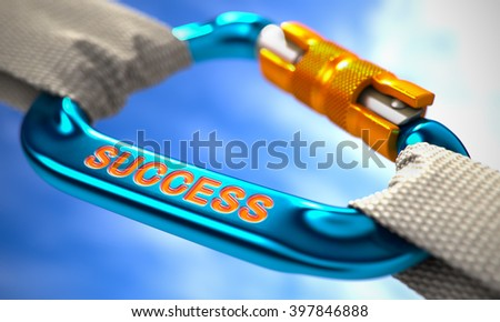 Success on Blue Carabine with White Ropes. Focus on the Carabine. 3D Render. - stock photo