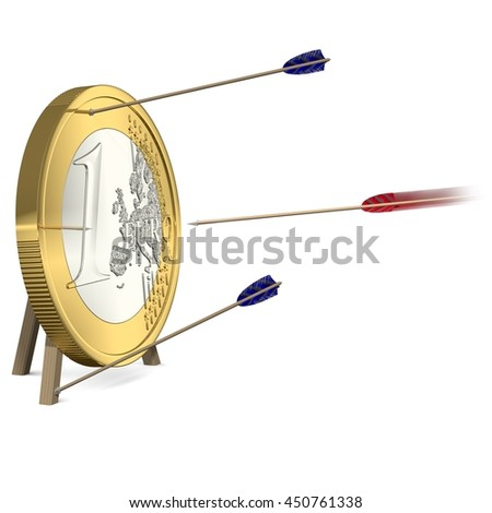 Success - Only one Arrow hits the Euro Coin Target - 3d-Illustration - stock photo