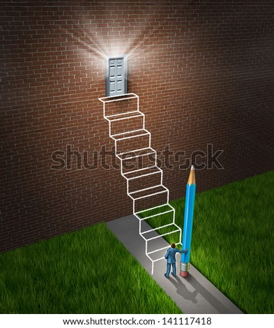 Success planning business concept as a businessman holding a pencil that has drawn a sketch of a future planned staircase with steps leading to a glowing door to build a bridge to opportunity. - stock photo