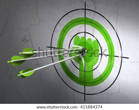 Success politics concept: arrows hitting the center of Green Uprising target on wall background, 3D rendering
