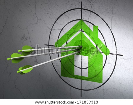 Success privacy concept: arrows hitting the center of Green Home target on wall background, 3d render
