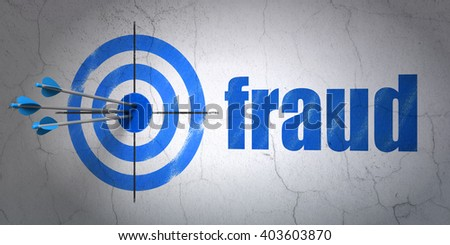 Success privacy concept: arrows hitting the center of target, Blue Fraud on wall background, 3D rendering - stock photo