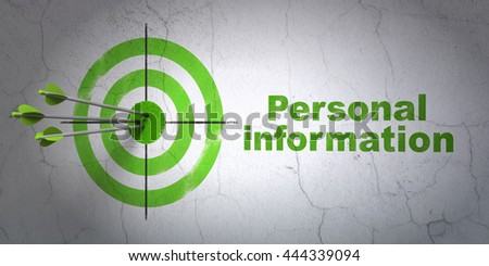 Success privacy concept: arrows hitting the center of target, Green Personal Information on wall background, 3D rendering - stock photo