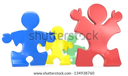 Success. Puzzle People x4 running.Multi color. Red winner. - stock photo