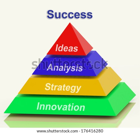 Success Pyramid Showing Progress Achievement Or Winning