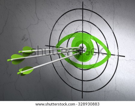 Success safety concept: arrows hitting the center of Green Eye target on wall background