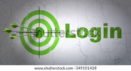 Success safety concept: arrows hitting the center of target, Green Login on wall background - stock photo