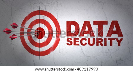 Success safety concept: arrows hitting the center of target, Red Data Security on wall background, 3D rendering - stock photo