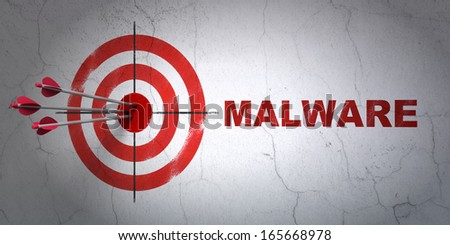 Success safety concept: arrows hitting the center of target, Red Malware on wall background, 3d render - stock photo