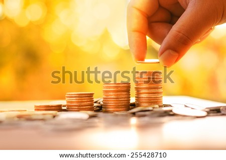 Success, Saving, Money, Coins, Hope of investor concept vintage style - stock photo