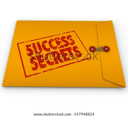 Success Secrets stamped on a yellow envelope to illustrate winning information and advice - stock photo