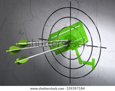 Success security concept: arrows hitting the center of Green Cctv Camera target on wall background - stock photo