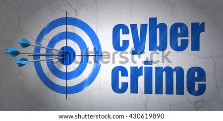 Success security concept: arrows hitting the center of target, Blue Cyber Crime on wall background, 3D rendering - stock photo