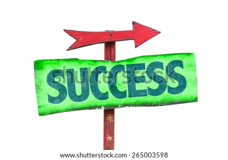Success sign isolated on white - stock photo