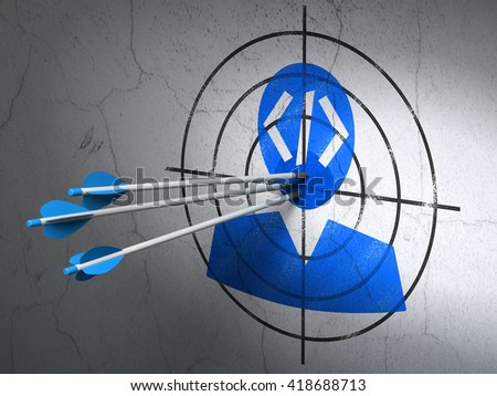 Success Software concept: arrows hitting the center of Blue Programmer target on wall background, 3D rendering