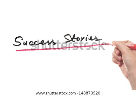 Success stories words written on white board - stock photo