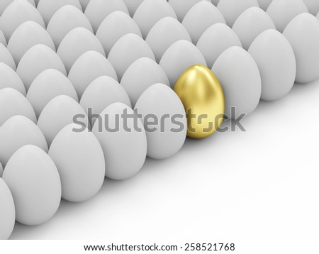 Success Symbol and Happy Easter Concept. Golden Easter Egg standing out from the others - stock photo