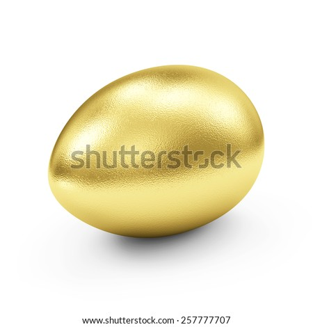 Success Symbol or Happy Easter Concept. Big Golden Egg isolated on white background