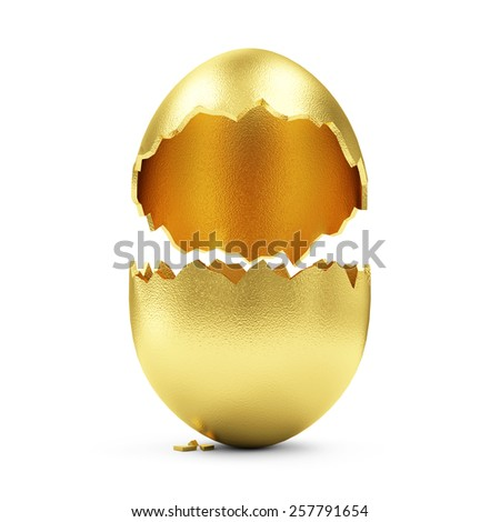 Success Symbol or Happy Easter Concept. Empty Broken Big Golden Egg isolated on white background - stock photo