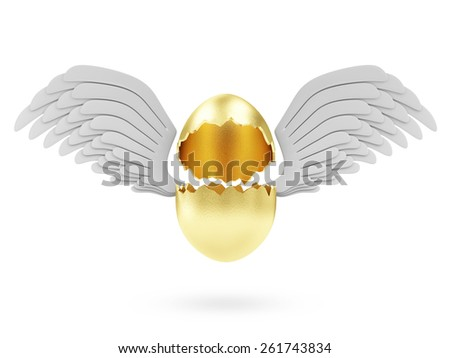 Success Symbol or Happy Easter Concept. Empty Broken Big Golden Egg with Angel White Wings isolated on white background