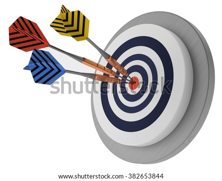 success target three arrows in the middle, best marketing hit, winner white background 3D illustration,