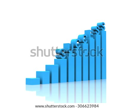 Success text on growth chart. - stock photo