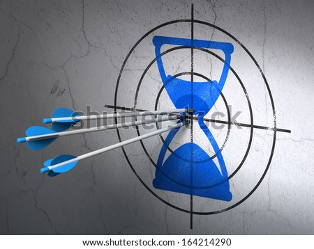 Success timeline concept: arrows hitting the center of Blue Hourglass target on wall background, 3d render