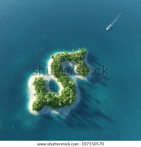Success way. Tropical island in the form of dollar - stock photo