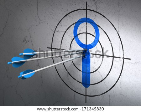 Success web development concept: arrows hitting the center of Blue Search target on wall background, 3d render