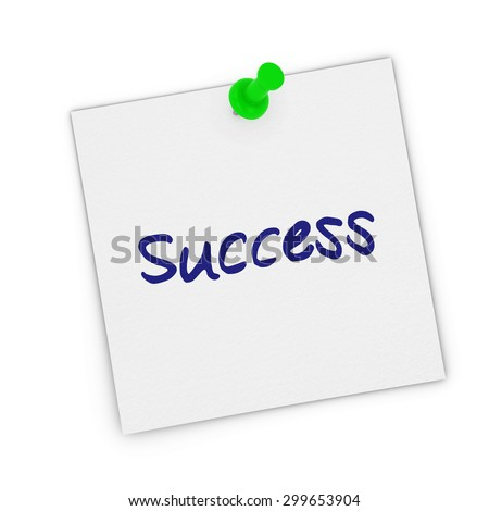 Success White Sticky Note Pinned to white background - stock photo