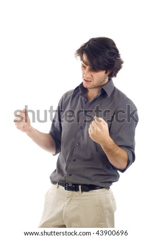 Success Winner  - Business man clenched his fists  isolated over white background