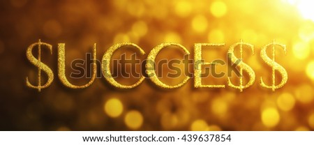 Success with dollar signs in golden glitter on bokeh background with light - stock photo