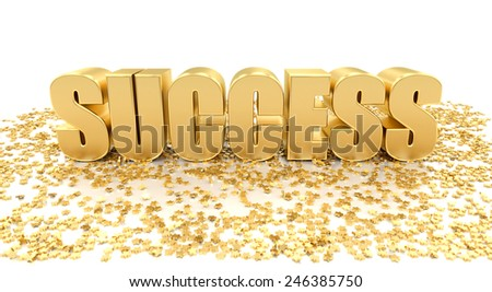 Success with stars on white background - High quality 3D Render - stock photo