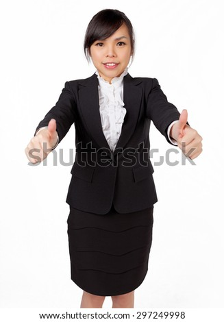 Success woman isolated giving thumbs up sign - stock photo