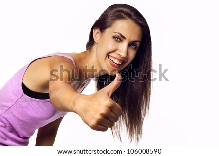 Success woman showing hand ok sign