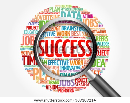 Success word cloud with magnifying glass, business concept - stock photo