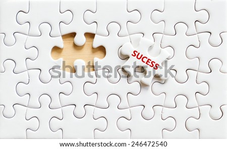 Success word on white puzzle piece,business concept background