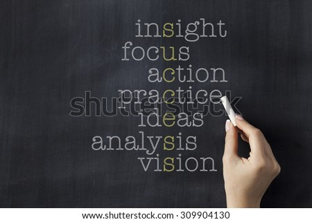 Success word puzzle on blackboard with words insight, focus, action, practice, ideas, analysis and vision. Businesswoman holding a chalk. - stock photo