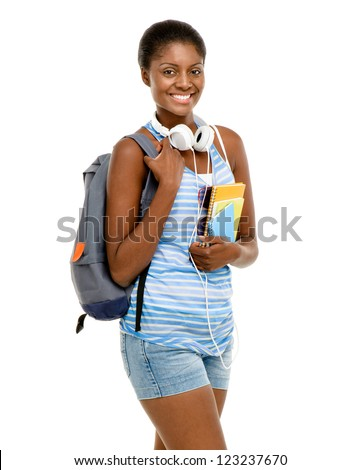 Successful African American Student woman back to school isolated on white background