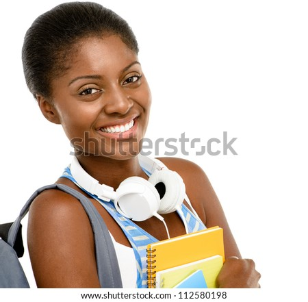 Successful African American student woman going back to school isolated on white background