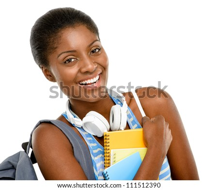Successful African American student woman holding thumbs up - stock photo
