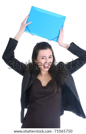 Successful and happy businesswoman with folder - stock photo