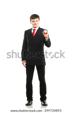Successful and smart businessman writing imaginary text isolated on white background.