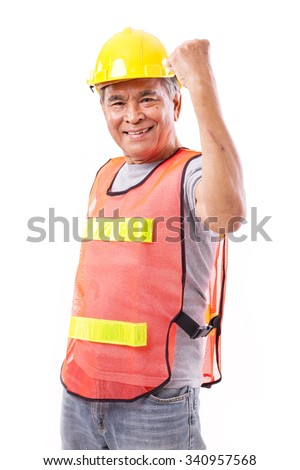 successful and tough senior construction worker or engineer with scar - stock photo