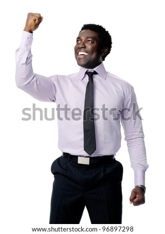 successful black businessman celebrating and cheering isolated on white - stock photo