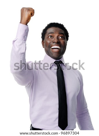 successful black businessman celebrating and cheering isolated on white