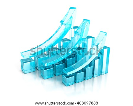 successful blue business graphs rising up grow arrows. 3d render illustration - stock photo