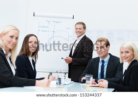 Successful business design team with diverse young men and women seated at a conference table discussing a presentation diagram on a flipchart