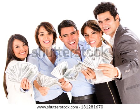 Successful business group with lots of money - isolated over a white background - stock photo
