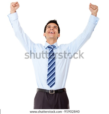Successful business man celebrating with arms up - isolated over white